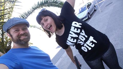 "Photo is of two people smiling. One (me) is wearing a tshirt that says ""Never Say Diet"""